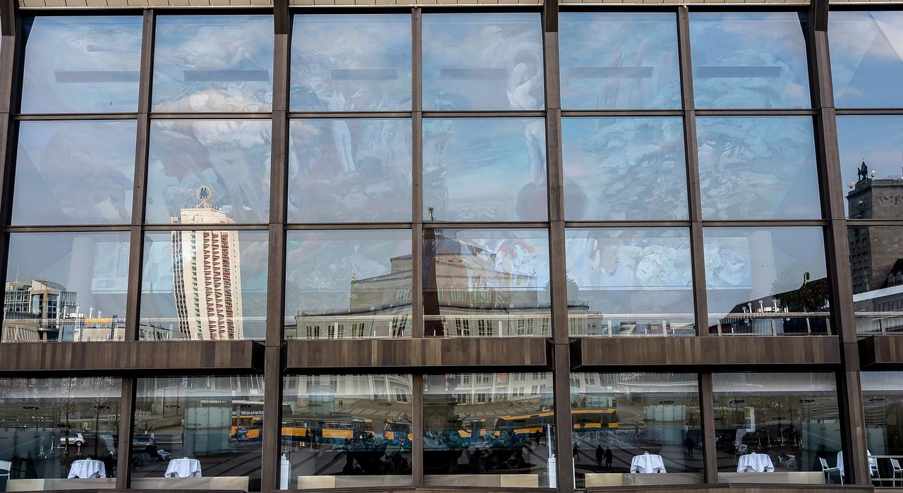 Leipzig Opera reflected in Gewandthaus, Leipzig, Germany
