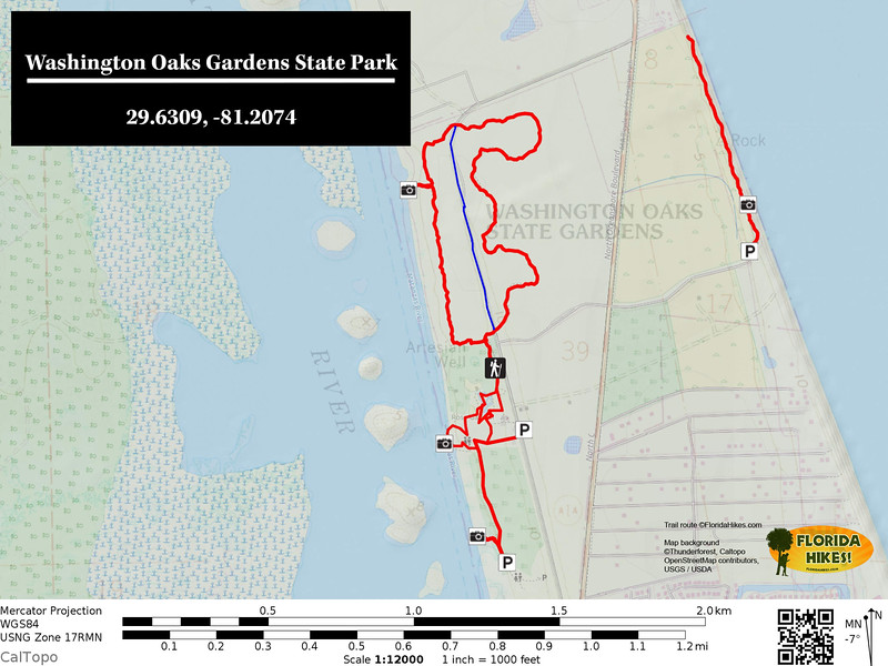 Washington Oaks Gardens Trail Map