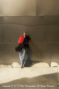 Self Portrait in the plaza/garden passage at Walt Disney Concert Hall