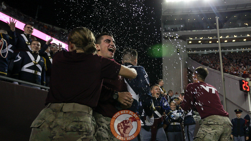 Members of the Corps of Cadets celebrate after the 4th down 2OT touchdown. (Mark Umansky/TheKeyPlay.com)