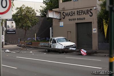 Car vs Pole, Botany Rd Alexandria. 28 Dec 2012