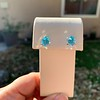 3.47ctw Blue Zircon Hexagon Stud Earrings 7