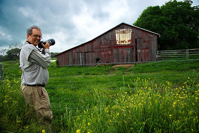 Jay Mangum the photographer shooting the Blue Bell barn