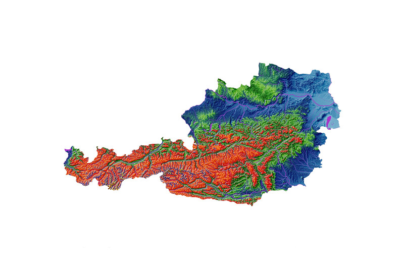 Elevation map of Austria