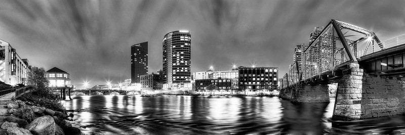 Grand River Night in Black and White