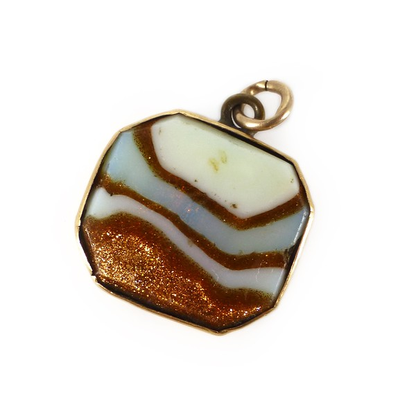 Antique Rolled Gold Aventurine Opaline Glass Fob Charm Pendant