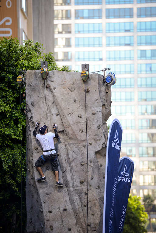 . A climbing wall is set up along Wilshire blvd. for Ciclavia Sunday April 6, 2014.  Wilshire blvd was closed between Grand Avenue and Fairfax Avenue from 9 a.m. to 4 p.m for busses only.  ( Photo by David Crane/Los Angeles Daily News )