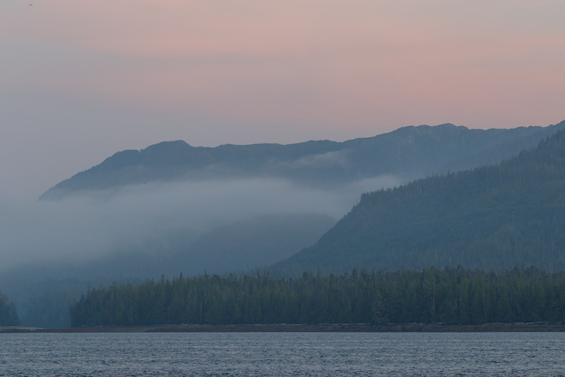 Misty Fjords national Monument as seen from sea level after sunset