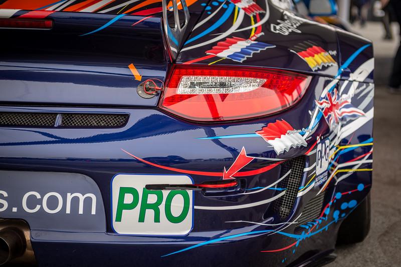 Right rear quarter of the Flying Lizard Motorsports 2011 911 RSR #80.