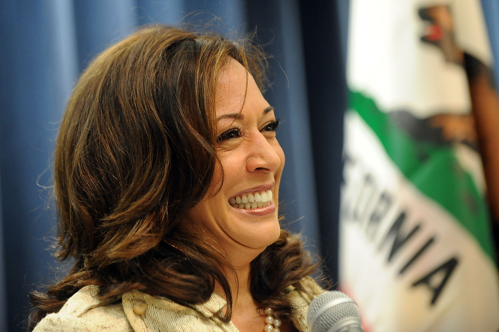 . Attorney General Kamala D. Harris lets out a smile during her press conference on the Prop. 8 ruling in Los Angeles, Ca June 26, 2013.(Andy Holzman/Los Angeles Daily News)