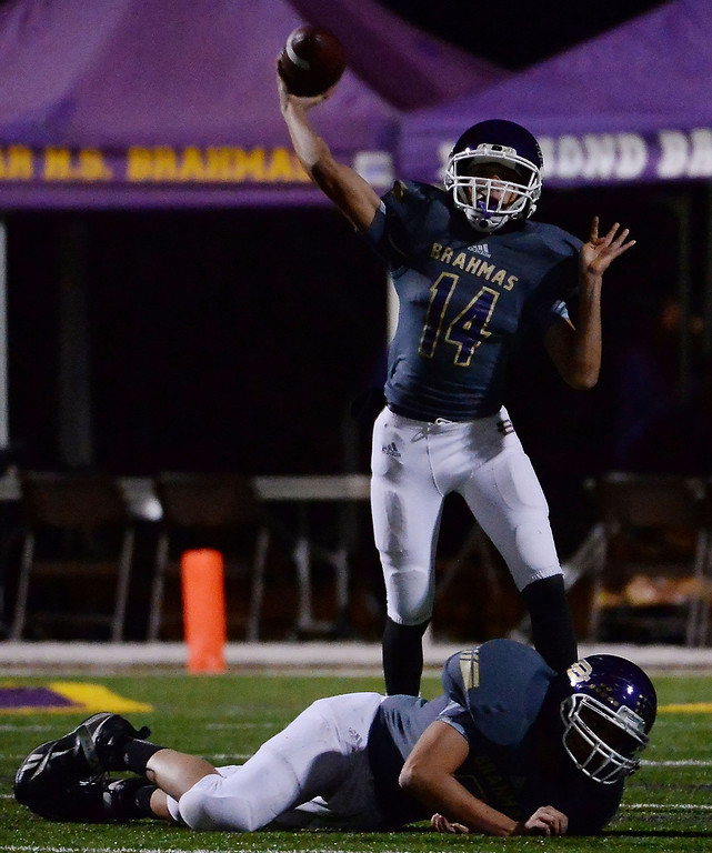 . Diamond Bar quarterback Tyler Peterson (C) (14) pass against La Serna in the first half of a CIF-SS playoff football game at Diamond Bar High School in Diamond Bar, Calif., on Friday, Nov. 22, 2013.   (Keith Birmingham Pasadena Star-News)