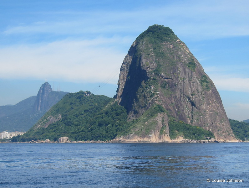 The amazing Sugarloaf Mountain (Pao de Acucar),  approaching Rio by sailboat after southbound passage, Brazil