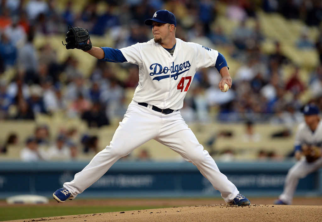 . Dodgers pitcher Paul Maholm #47 during their game against the Giants at Dodger Stadium Friday, May 9, 2014. (Photo by Hans Gutknecht/Los Angeles Daily News)