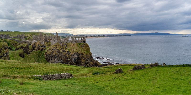Ruins of medieval Dunluce Castle on the cliff, County Antrim, Northern Ireland, Ireland