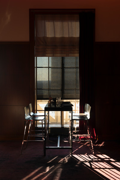 Empty chairs and table arranged in house, Minneapolis, Hennepin County, Minnesota, USA