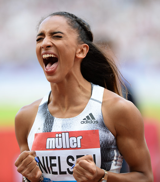 Levai Nelson celebrates her 400 metre personal best at the Muller Anniversary Games 2019