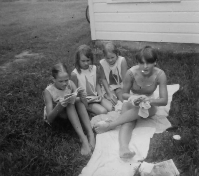 Jeanne Smock, Sharon Jacob, Julie Smock, Jan Smock Summer 1966  2132 Pech Rd. Spring Branch