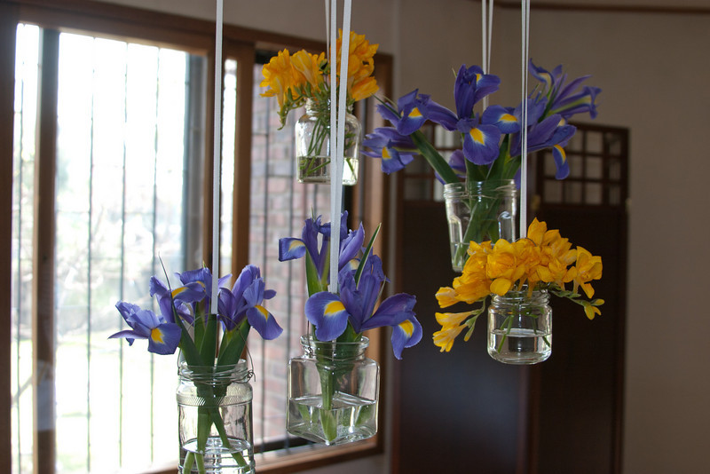 Beautiful flowers above the dining table of the Easter dinner