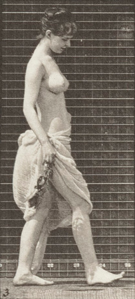 Semi-nude woman walking, scattering flowers and and turning around