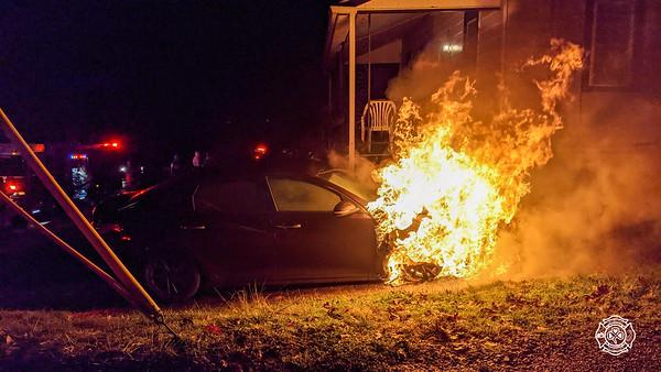 Woodland Ave - Modena - Car Fire