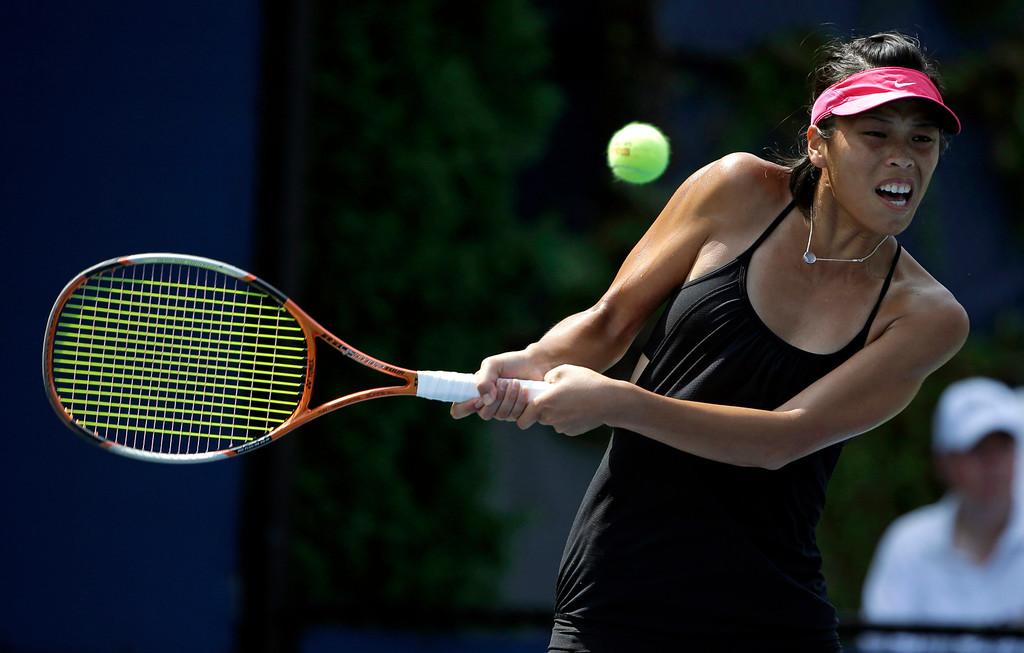. Su-Wei Hsieh, of Taiwan, returns a shot to Klara Zakopalova of the Czech Republic during the first round of the 2013 U.S. Open tennis tournament Tuesday, Aug. 27, 2013, in New York. (AP Photo/David Goldman)
