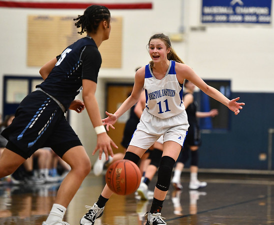 2/18/2020 Mike Orazzi | StaffrBristol Eastern's Ciara Collins (11) during a 57-52 Eastern overtime win in Bristol Tuesday afternoon.
