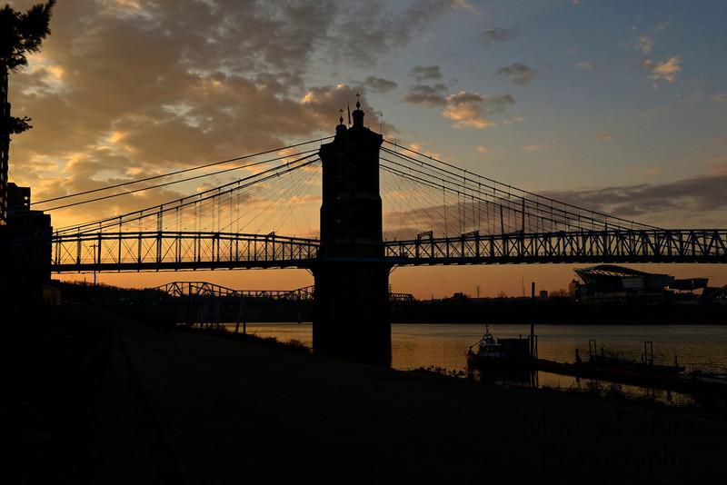 Roebling Suspension Bridge - silhouetted