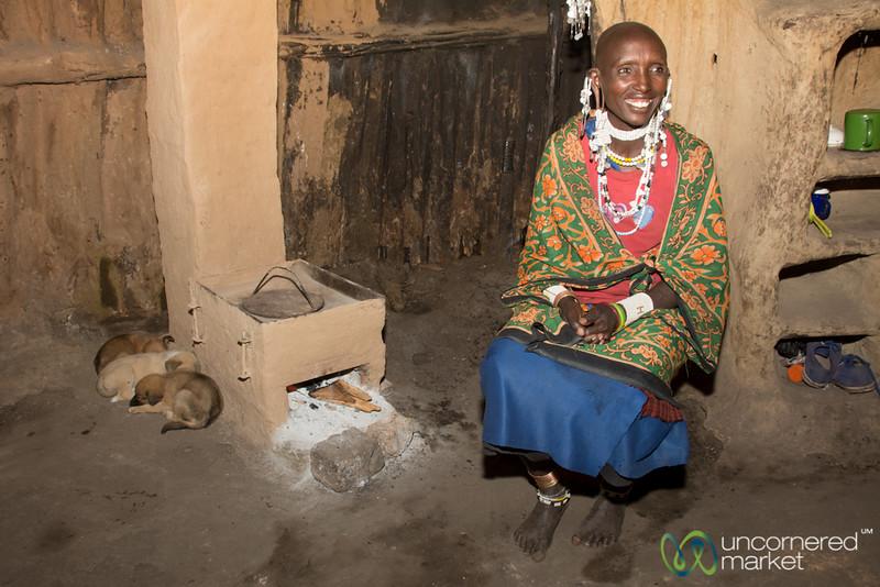 Inside a Maasai Hut with a Clean Stove - Tanzania