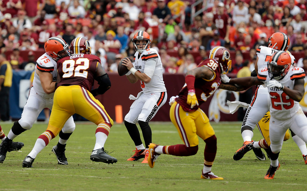 . Cleveland Browns quarterback Cody Kessler (6) looks to pass during the first half of an NFL football game against the Washington Redskins, Sunday, Oct. 2, 2016, in Landover, Md. (AP Photo/Chuck Burton)