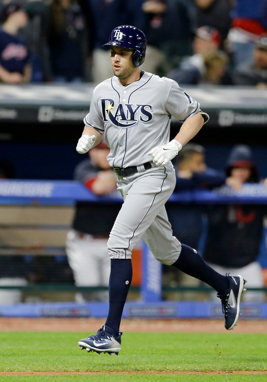 . Tampa Bay Rays\' Peter Bourjos runs the bases after hitting a solo home run off Cleveland Indians relief pitcher Cody Allen in the ninth inning of a baseball game, Monday, May 15, 2017, in Cleveland. The Indians won 8-7. (AP Photo/Tony Dejak)