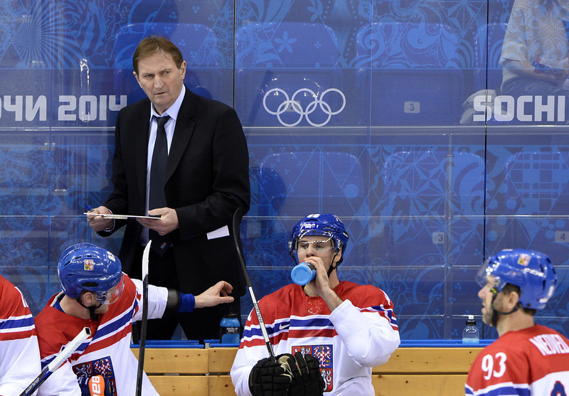 . Czech Republic\'s head coach Alois Hadamczik looks on during the Men\'s Ice Hockey Play-offs Czech Republic vs Slovakia at the Shayba Arena during the Sochi Winter Olympics on February 18, 2014.  (JONATHAN NACKSTRAND/AFP/Getty Images)