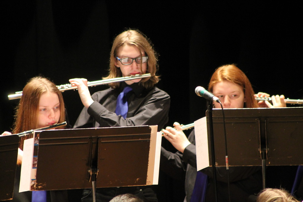 . Jackie Smith, Amanda James and Rory Maynard of Wickliffe high School\'s Jazz Band play flutes during their performance in the Lakeland Jazz festival at Lakeland Community College on March 16. Kristi Garabrandt - The News-Herald