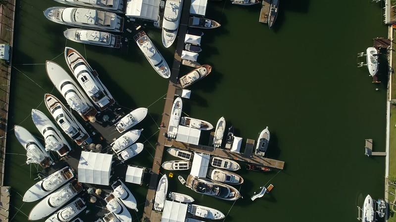 Direct overhead shot Miami Beach boat show yachts 4k 60p