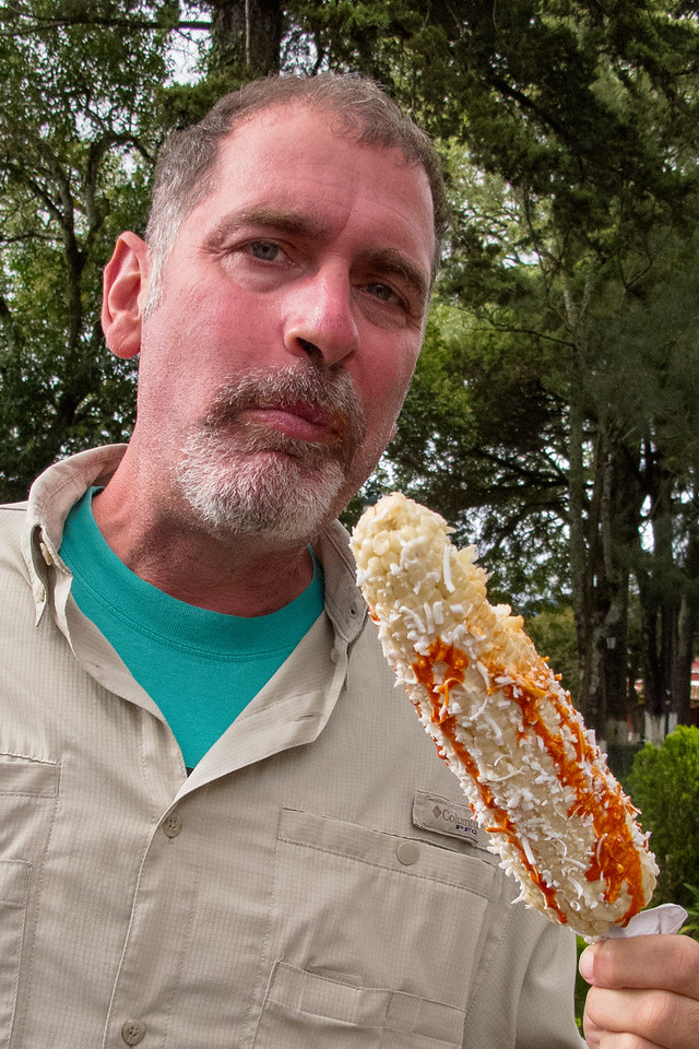 Enjoying Elote in San Cristobal de las Casas