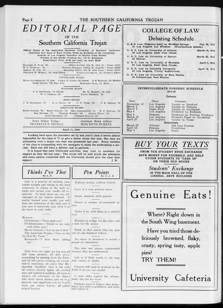 The Southern California Trojan, Vol. 7, No. 97, April 11, 1916