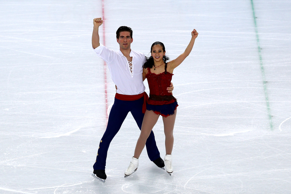 . Felicia Zhang and Nathan Bartholomay of the United States compete in the Figure Skating Pairs Free Skating during day five of the 2014 Sochi Olympics at Iceberg Skating Palace on February 12, 2014 in Sochi, Russia.  (Photo by Clive Mason/Getty Images)
