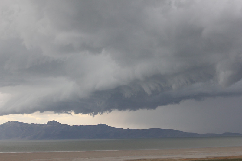 Antelope Island endurance ride in Utah... this whopper of a storm barreled over us dropping lightning, thunder, and hail! I hid in a truck.