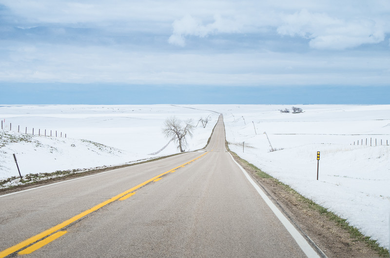 The American West Prairie in Snow