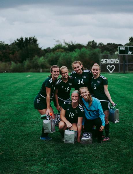 Holy Family Girls Varsity Soccer vs. Glencoe-Silver Lake, 9/24/19: Seniors from left to right: Ella Haley '20 (4), Maggie Rothstein '20 (18), Shannon Furlong '20 (34), Brenna Jones '20 (5), Caitlin Rock '20 (12), and Sydney Paulsen '20 (1)