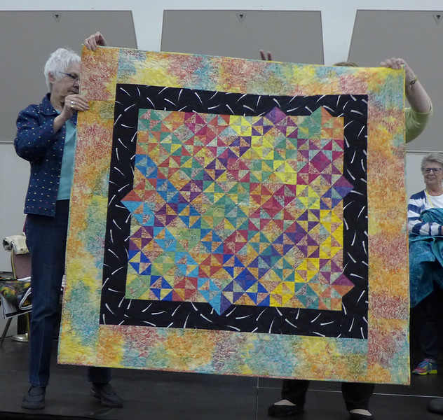 "Roasanne Brouwer.  Presented two quilts that she are off the ""to-do"" list.  Quilted by Nancy Boyse."