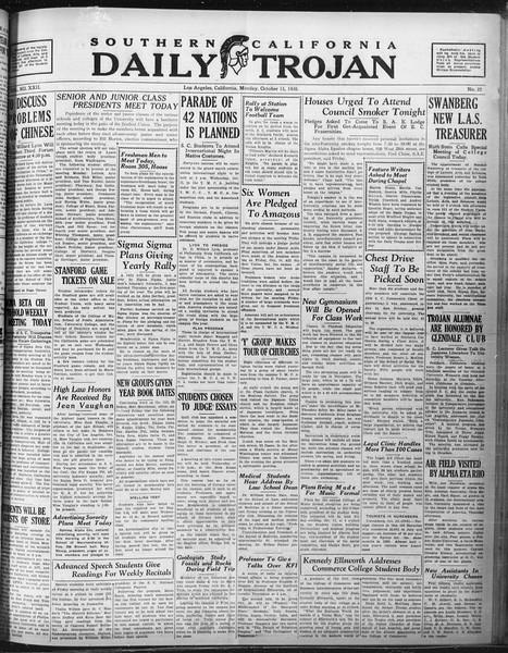 Daily Trojan, Vol. 22, No. 22, October 13, 1930
