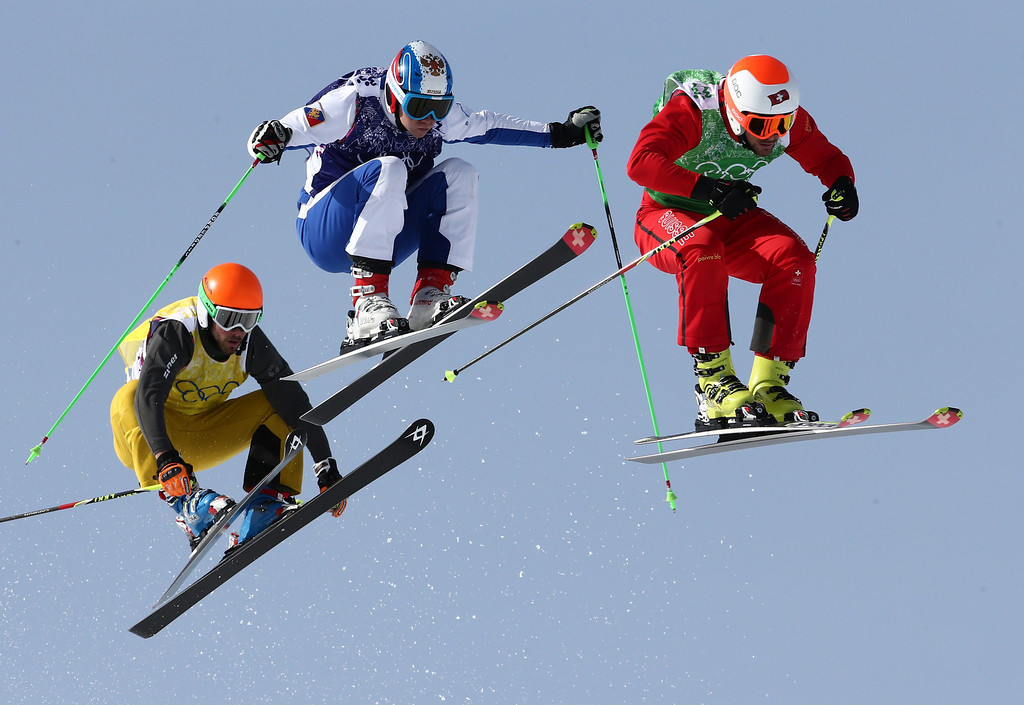 . Germany\'s Florian Eigler (L), Russia\'s Egor Korotkov (C) and Switzerland\'s Armin Niederer (R) compete in the Men\'s Ski Cross Small Final at Rosa Khutor Extreme Park during the Sochi 2014 Olympic Games, Krasnaya Polyana, Russia, 20 February 2014.  EPA/MICHAEL KAPPELER