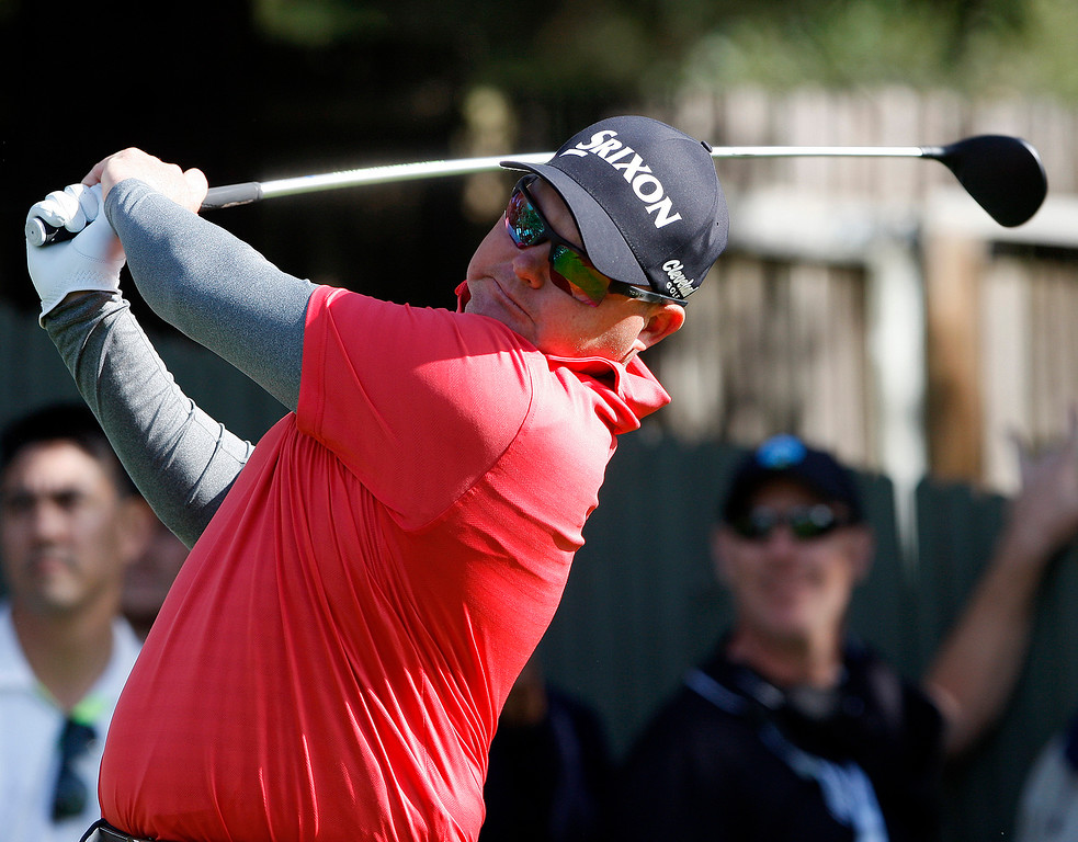 . Ted Potter Jr. tees off from the 15th hole at the Pebble Beach Golf Links during the final round of the AT&T Pebble Beach Pro-Am on Sunday, Feb. 11, 2018.  Potter went on to win the tournament by three strokes with a -17.  (Vern Fisher - Monterey Herald)