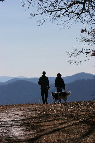 Cat, Drew and Bessie atop Mount Spivey in Asheville