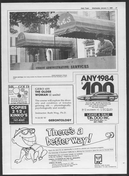 Daily Trojan, Vol. 95, No. 2, January 11, 1984