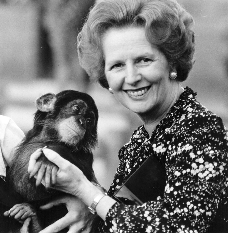 . APRIL 8: Lord Bell, spokesperson for Baroness Margaret Thatcher, announced in a statement that the former British Prime Minister died peacefully following a stroke aged 87.   British prime minister Margaret Thatcher (right) holding a chimpanzee.   (Photo by Keystone/Getty Images)