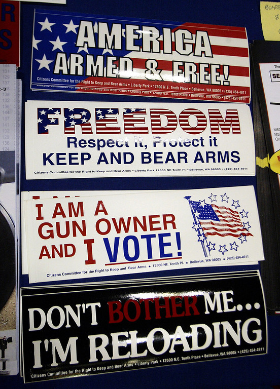 . Various stickers stand on display at the 132nd Annual National Rifle Association Meeting in in Orlando, Florida April 27, 2003.  With the NRA having a membership of approximately 4 million the annual event brings thousands to the meetings. © Shannon Stapleton / Reuters