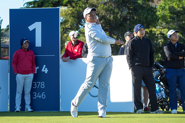 Do Le GIA DAT from Vietnam teeing off on  Practice Day 2 of the Asia-Pacific Amateur Championship tournament 2017 held at Royal Wellington Golf Club, in Heretaunga, Upper Hutt, New Zealand from 26 - 29 October 2017. Copyright John Mathews 2017.   www.megasportmedia.co.nz