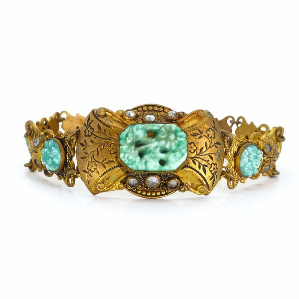 Vintage Art Deco Czech Peking Glass Floral Marcasite Gold Bracelet