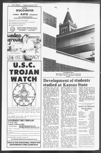 Daily Trojan, Vol. 62, No. 57, January 05, 1971